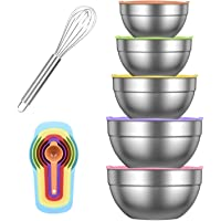 Dveda Lot de 5 bols à mélanger en acier inoxydable avec couvercles pour la cuisine, 6 cuillères à mesurer, 1 fouet à…