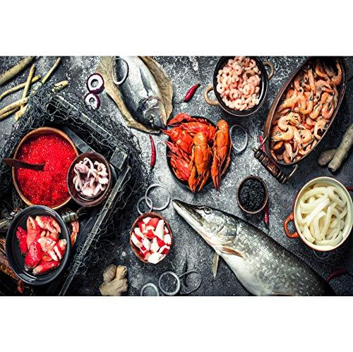 YongFoto 3x2m Vinyl Foto Hintergrund Frische Meeresfrüchte Fisch Garnelen Hummer Zutaten Kochen Fotografie Hintergrund Partydekoration Video Fotostudio Hintergründe Fotoshooting