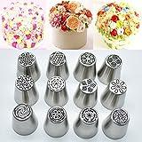 Russian Piping Tips Flower Cake Icing Piping Nozzles Cake & Cupcake Decorating Tips Kit Pastry DIY Baking Tools (12pcs)