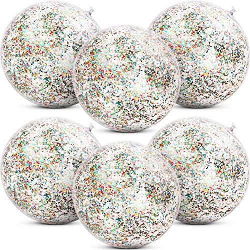 6 Stücke Aufblasbare Glitter Wasserball Konfetti Wasserbälle Transparent Schwimmbad Party Ball für Sommer Strand Wasser Spielen Spielzeug, Schwimmbad und Party Gefallen, 16 Zoll (Mehrfarbig) (Aufblasbare Strand Bälle)