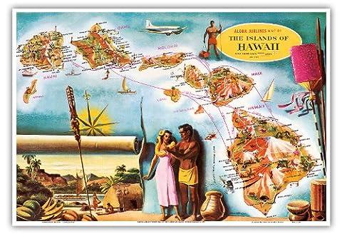 Aloha Airlines Route Map of the Hawaiian Islands - Vintage Hawaiian Colored Cartographic Map by Don Allison - Hawaiian Master Art Print - 13 x