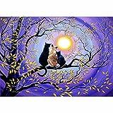Fairylove 5d 30x 40, mit Bohrer-Diamant-Malen nach Zahlen, Stickerei, Kreuzstich, Diamant für Erwachsene, Kinder, Cats Watching Moon