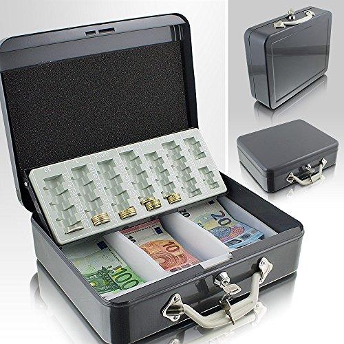 30cm Grau Geldtransportbox Geldkassette Münzzählbrett Zähl- und Transportkassette Münzkassette Geld Kasse Geldkasse Transportbox 300mm