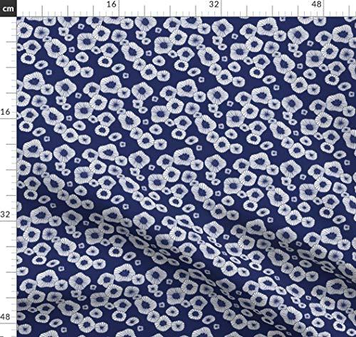 Marineblau, Marine, Cool, Blüte, Winter Stoffe - Individuell Bedruckt von Spoonflower - Design von Littlesmilemakers Gedruckt auf Baumwoll Spandex Jersey -