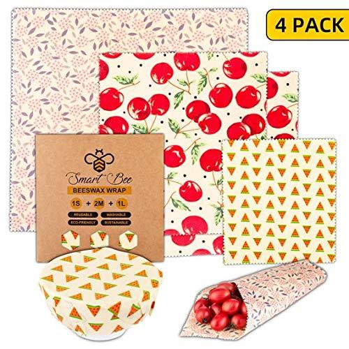 Smart Bee Lot de 4 emballages alimentaires réutilisables à la cire d'abeille mixte