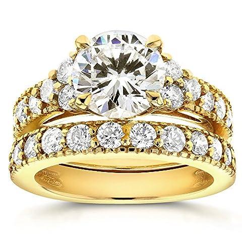Art Deco et 3anneaux de mariage Diamant en Or 9carats