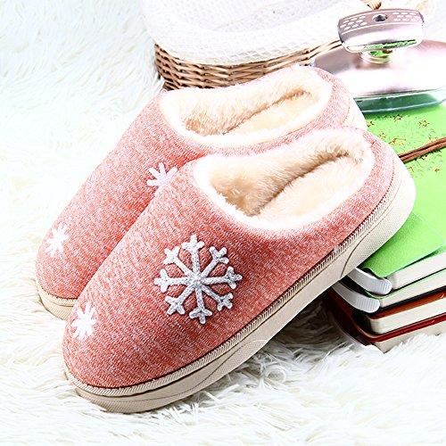 JACKSHIBO Damen Herren Plüsch Baumwolle Pantoffeln Weiche Leicht Wärme Hausschuhe Rutschfeste Slippers Für Unisex Orange
