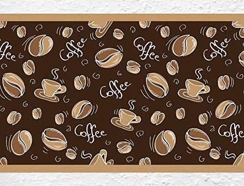 dekodino Selbstklebende Bordüre Küche Borte Coffee - Kaffeebohnen und Kaffeetassen Bordüre