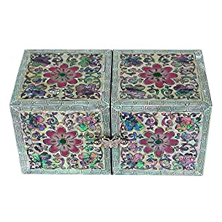 Mother of Pearl Inlay Pink Flower Lacquer Wood Drawer Women Girl Secret Jewellery Small Ring Earrings Keepsake Trinket Treasure Gift Box Case Chest Organizer Storage