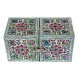 Madre de incrustaciones de perlas flor rosa lacado madera cajón mujeres chica secreto joyas anillo pequeño tesoro de recuerdos Pendientes caja de regalo en el pecho organizador almacenamiento