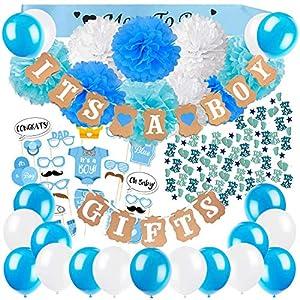 Zerodeco Baby Dusche Dekoration, It's A Boy und Gifts Girlande Banner mit Seidenpapier Pom Poms, Neugeborene Fotorequisiten Masken, Blau Schärpe, Konfetti und Luftballons für Junge Baby Shower