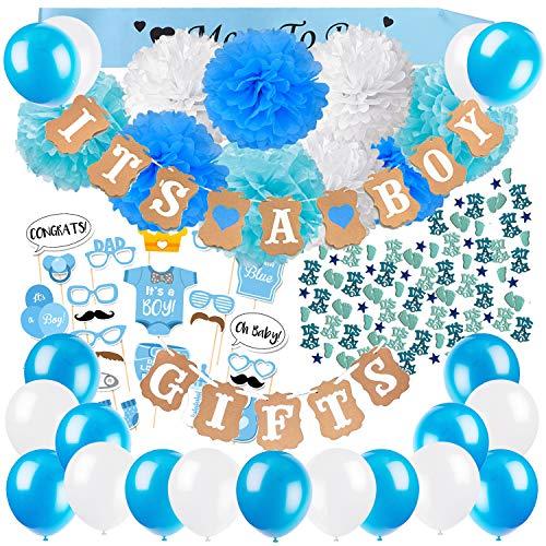 Dekoration, It's A Boy und Gifts Girlande Banner mit Seidenpapier Pom Poms, Neugeborene Fotorequisiten Masken, Blau Schärpe, Konfetti und Luftballons für Junge Baby Shower ()
