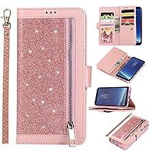 EYZUTAK Wallet Case for Samsung Galaxy S10 5G,Magnetic Handbag Zipper Pocket PU Leather Flip with 9 Card Slots and Wrist Strap Folio TPU Inner Stand Case for Samsung Galaxy S10 5G - Rose Gold