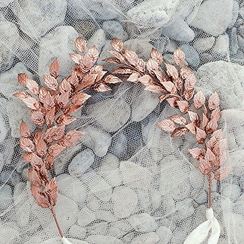 handmadejewelrylady Rose Gold Leaf diadema boda accesorios para el pelo novia pelo joyas para mujeres accesorio para la cabeza Tiara Novia diadema