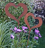 2 Herzen offen auf Stab Edelrost Metall Gartenstecker Topfstecker Dekoration