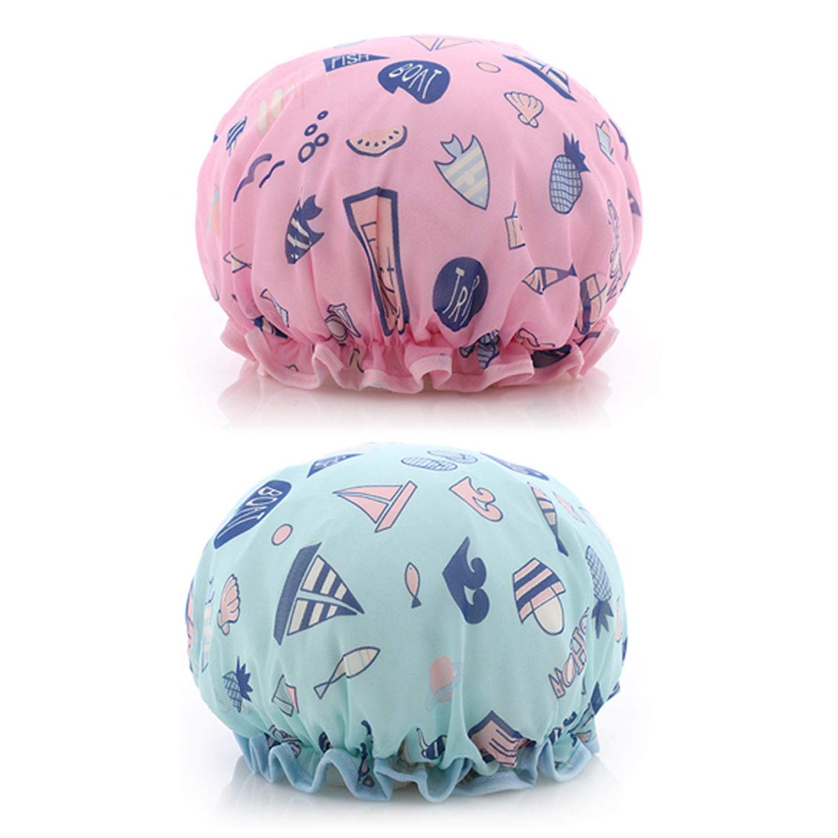 2 Pack Ocean Shower Cap Double Layers Bath Caps for Women Reusable Spa Waterproof Designed Satin Lined (Pink and Blue)