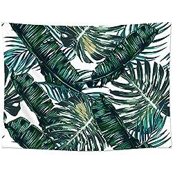 """GT06, arazzo con foglie di palma tropicale, coperta per divano. Tessuto in poliestere leggero, decorazione da parete, coperta da spiaggia, runner da tavola. 198,1x 147,3cm, dark green, 78""""*58"""""""