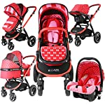 i-Safe System - Bow Dots Trio Travel System Pram & Luxury Stroller 3 in 1 Complete with Car Seat