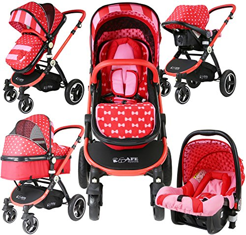 iSafe i-Safe System - Bow Dots Trio Travel System Pram amp; Luxury Stroller 3 in 1 Complete With Car Seat