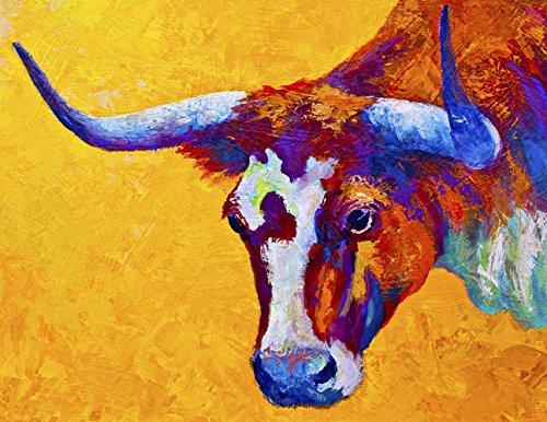 Y&J Modernes Leinwand Art Wand für Zuhause und Büro Dekoration Ölgemälde Print Art Animal auf Leinwand, Texas Longhorn Muster, 66x 50,8cm, Canvas Prints Giclée Kunstwerk für Wand Decor (Texas Longhorn Dekorationen)