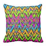 Bags-Online Decorative Square Colorful Fashion Chevron Stripes English Alphabet Pillow Case Covers Home Decor Design for Sofa Two Sides 18X18 inch