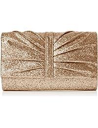 SwankySwans  Serafina Shimmer Glitter Clutch Bag Gold, Sac femme