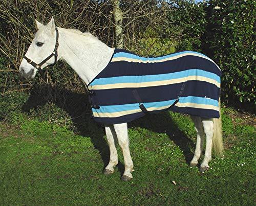 Rhinegold Elite Pferde-Fleecedecke, Top Qualität, Türkis gestreift, für Pferd oder Pony, türkis -