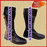 NASIR ALI Medieval - Botas de Piel para Hombre con Zapatillas largas