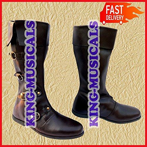 NASIR ALI Mittelalter Leder Stiefel Renaissance Schuhe Viking Schuh Herren Braun Lang Schuhe -