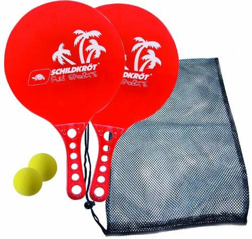 Schildkröt Fun Sports Beach Ball Set CRYSTAL (2 Plastik-Schläger, 2 Bälle), rot