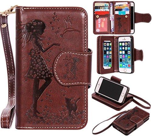 Nancen Compatible with Handyhülle iPhone 5 / 5S / SE (4,0 Zoll) Hülle, Prägung Mädchen Schmetterling Blume Vögel und Katze Muster Doka-Tasche [Braun]