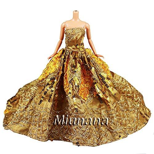 Miunana 1 Vestido de noche con Lentejuelas Ropa Princesa Vestir Fiesta para Barbie Muñeca