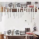 LangToo 3D-glänzende Oberfläche DIY Acryl spiegel Wandaufkleber Schlafzimmer Wohnzimmer Badezimmer mit fabelhaften bezüglich TV-Wand dekoriert, 4 cm Platz 100 [Silber], in den Spiegel.