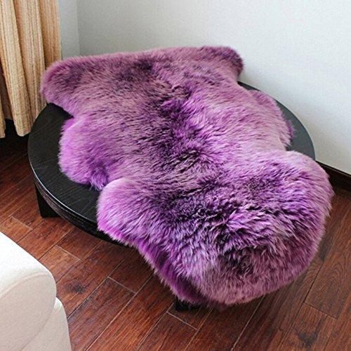 Super Weicher Kunstpelz Falsche Schafsfell Sofa Couch Casper Eitelkeit Stuhlbezug Teppich Waschbar Teppich rutschfeste Matte Flauschig Teppich Matten Bettdecke Stuhlbezug Flauschig - Lila, Free Size
