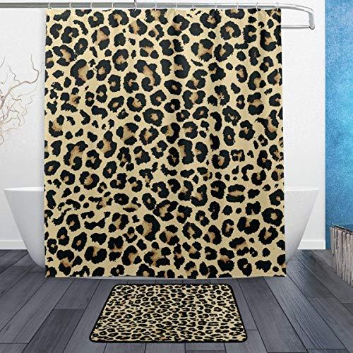 AdaCrazy Conjunto Cortina Ducha con patrón Fondo Leopardo clásico la