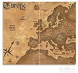 Wallario Herdabdeckplatte / Spritzschutz aus Glas, 2-teilig, 60x52cm, für Ceran- und Induktionsherde, Alte Weltkarte, Karte von Europa in englisch