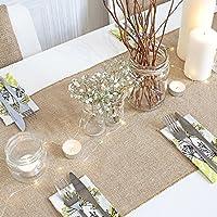 HomeZone® 30cm x 10m Brown Hessian Jute Table Runners Rustic Burlap Table Decor Vintage Shabby Chic Style For Home Wedding Birthday Celebration Xmas Dinner Garden Party (1x Table Runner)