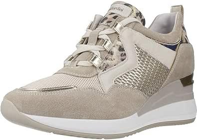 Nero Giardini E010462D Velour Ivory Beige Milk Sneakers Donna Nabuk, Pelle Tessuto Beige Lacci