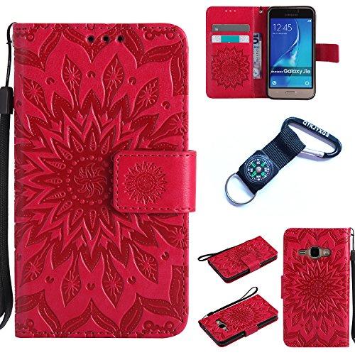 Preisvergleich Produktbild Galaxy J1 (2016) Hülle Blume Premium PU Leder Schutzhülle für Samsung Galaxy J1 (2016) J120 (4,5 ZollBookstyle Tasche Schale PU Case mit Standfunktion+Outdoor Kompass Schlüsselanhänge) (4)