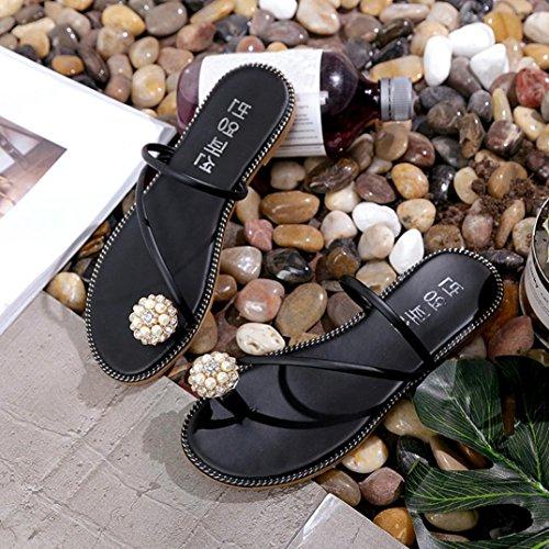 Transer ® Femmes strass Peep-toe faible sandales été Flip Flops Noir