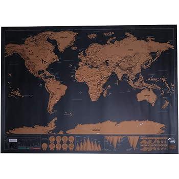 Kofun DIY Sticker Mural Amovible Carte Du Monde Travel Edition A Gratter De Luxe Affiche Personnalisee Cadeau Voyageur