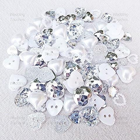 100 Mix Sparkly Silver & White Resin Heart Flatbacks Craft Cardmaking Embellishments