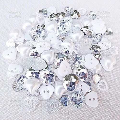 100-mix-sparkly-silver-white-resin-heart-flatbacks-craft-cardmaking-embellishments