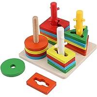 Jouet d'empilage de blocs d'empilage, jeu de comptage de trieur de formes jouets éducatifs de tableau de tri géométrique…