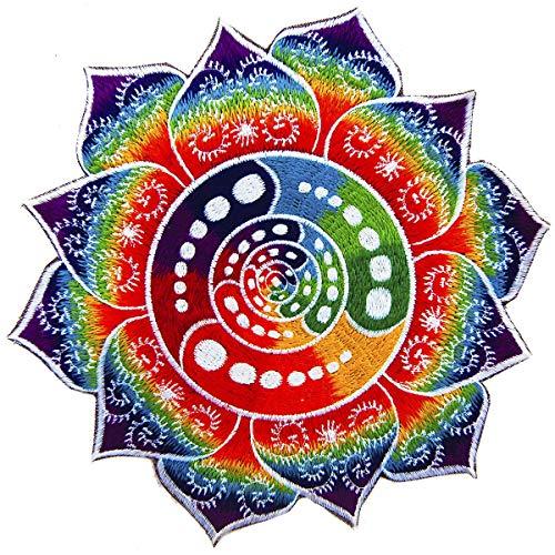 is Aufnäher (Schwarzlicht aktive Handarbeit) Crop Circle Patch Design, Applikation zum Aufnähen oder als Dekoration, UV Goa Stickerei Ausserirdische Mandala Kunst, L, Attributes Fraktal ()