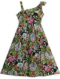 Sunny Fashion Robe Fille Sans manches Floral Imprimer Asymétrique Épaule Conception