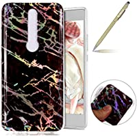Herbests Funda Huawei Mate RS, Carcasa Huawei Mate RS Ultrafina TPU Gel Protector Flexible Cover Funda Huawei Mate RS Carcasa Alta Calidad IMD Láser Diseño Colorido Mármol Series Glitter Brillante Funda Silicona Carcasa Ultra Slim Transparente Crystal Clear Soft TPU Silicone Back Bumper Case Cover Goma Funda Anti-Golpes Anti-Rasguño Antideslizante Protección Carcasa TPU Silicona Case para Huawei Mate RS con 1 x Bolígrafo, Mármol Marrón