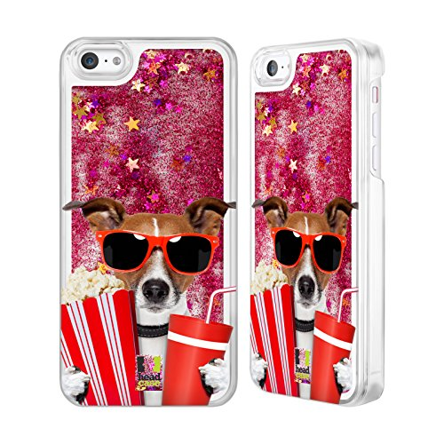 Head Case Designs Hund Im Kino Komische Tiere Heiss Pink Handyhülle mit flussigem Glitter für Apple iPhone - 5c Case-kino Iphone