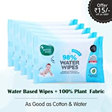 Mother Sparsh Baby Water Wipes, 15 Baby Wipes, Pack of 5 (Plant Based Fabric, 100% Biodegradable Wipes)