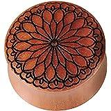 Dilatatore in legno marrone di sawo, con incisione nera, fiore tribale, dilatatore in legno organico con doppia svasatura, pe